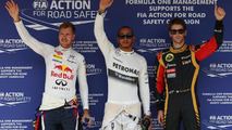 Pole for Lewis Hamilton (GBR) Mercedes AMG F1, 2nd Sebastian Vettel (GER) Red Bull Racing and 3rd Romain Grosjean (FRA) Lotus F1 E21 27.07.2013.