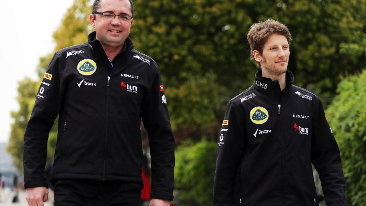 Eric Boullier and Romain Grosjean 11.04.2013 Chinese Grand Prix