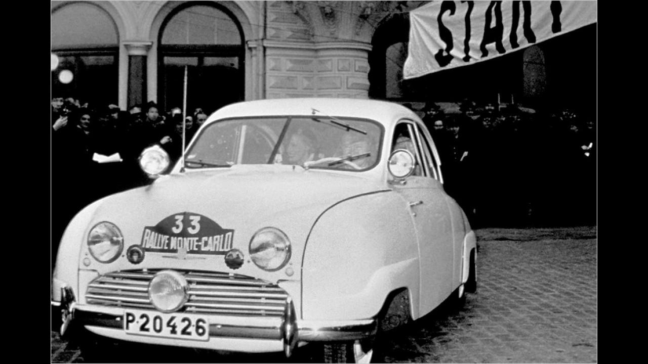 Frühe Sportqualitäten: Bereits 1951 trat Saab mit dem 92 bei der Rallye Monte-Carlo an