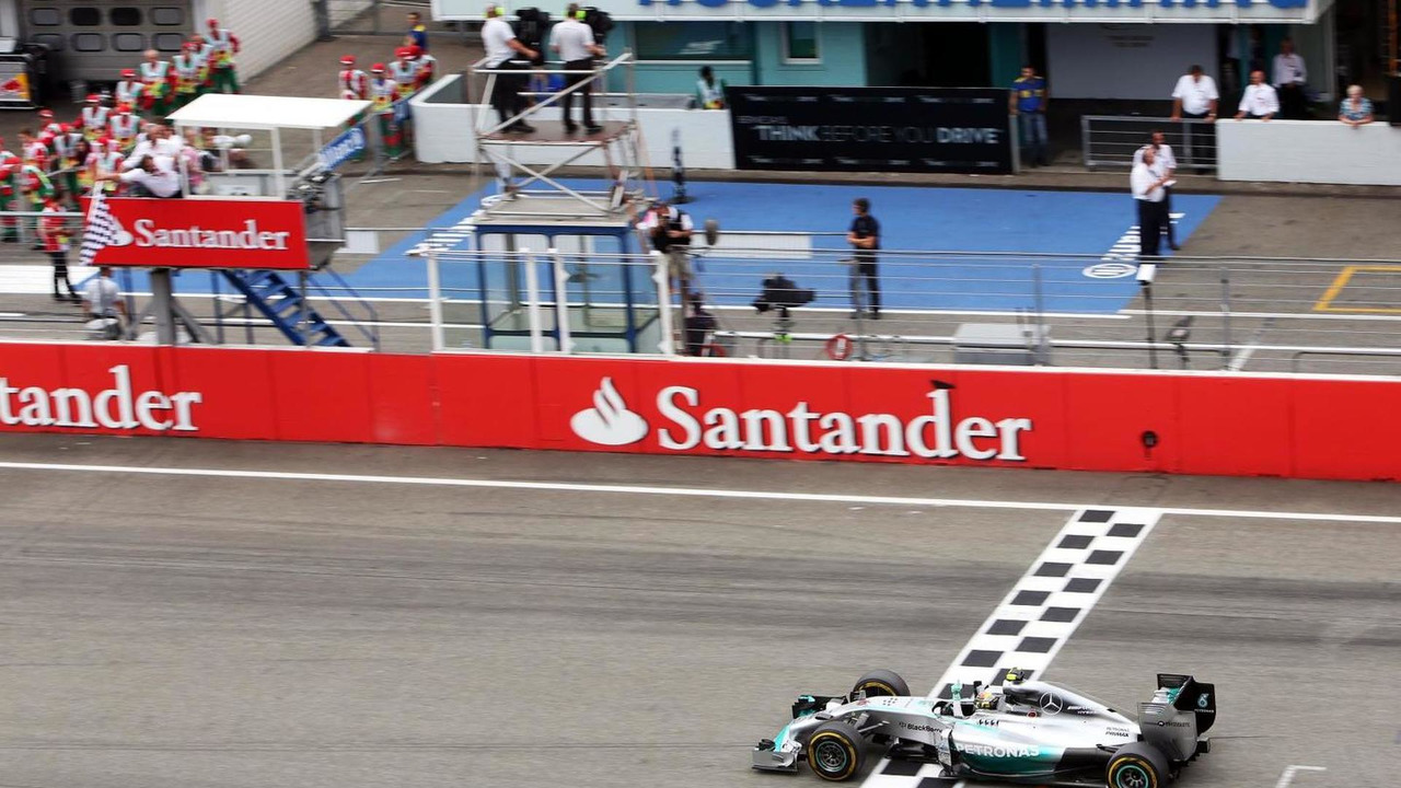 Nico Rosberg (GER) celebrates as he takes the chequered flag at the end of the race, 20.07.2014, German Grand Prix, Hockenheim / XPB
