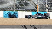 Lewis Hamilton Mercedes AMG F1 W05 crashes at the first corner 28.01.2014 Formula One Testing Jerez Spain