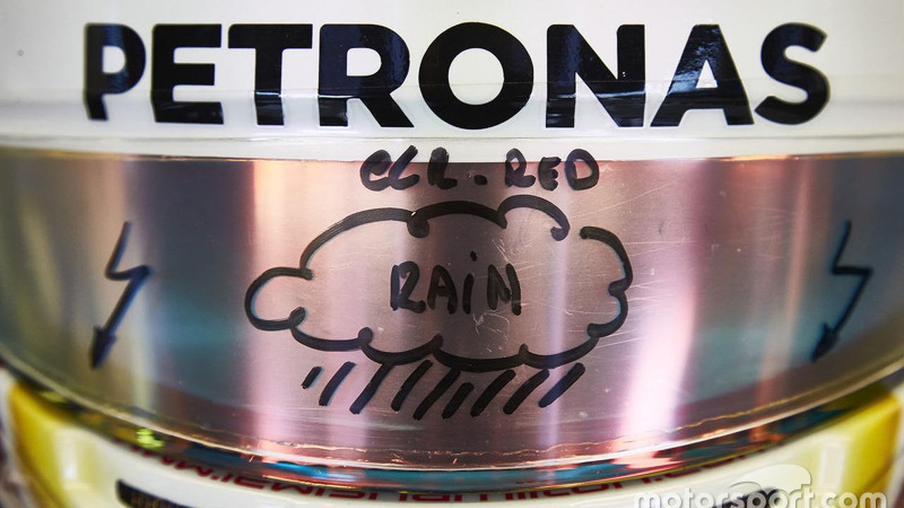 Lewis Hamilton, Mercedes AMG F1 visor detail