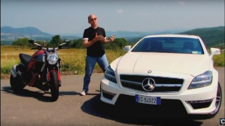 Mercedes-Benz CLS 63 AMG sfida Ducati Diavel [VIDEO]
