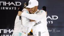 Abu Dhabi GP, race winner Lewis Hamilton celebrates on the podium