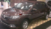 Renault Logan photographed in showroom with a few cosmetic changes