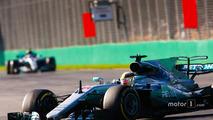 Lewis Hamilton, Mercedes AMG F1 W08, leads Valtteri Bottas, Mercedes AMG F1 W08