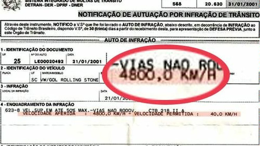 Brazilian Lawyer Gets Fined For Driving At 4,800 km/h
