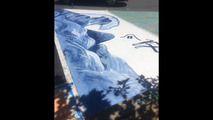 Painted parking spots by high school students
