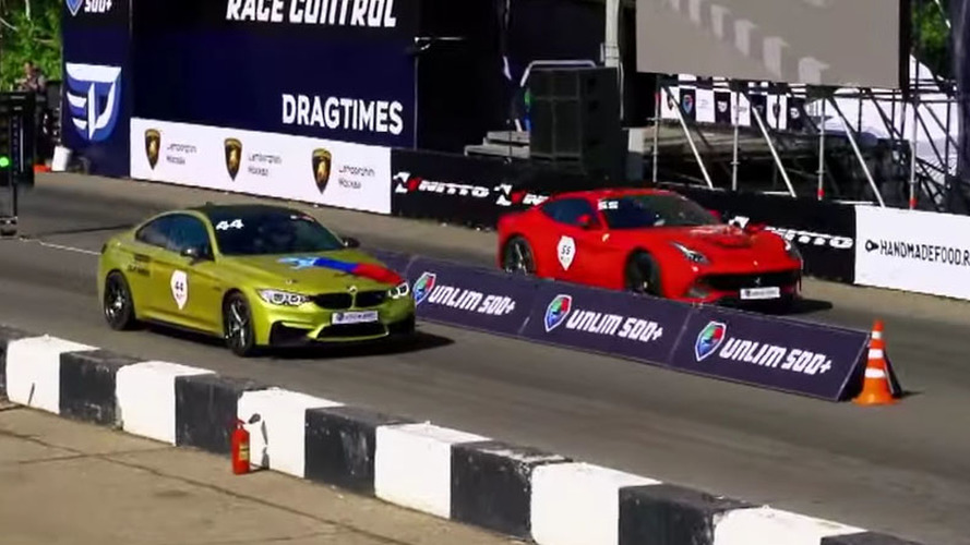 See if a 700-hp BMW M4 can beat a Ferrari F12 in a drag race