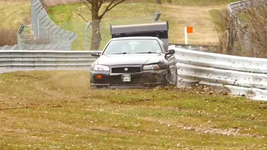 Nissan Skyline GT-R hits guardrail at Nurburgring