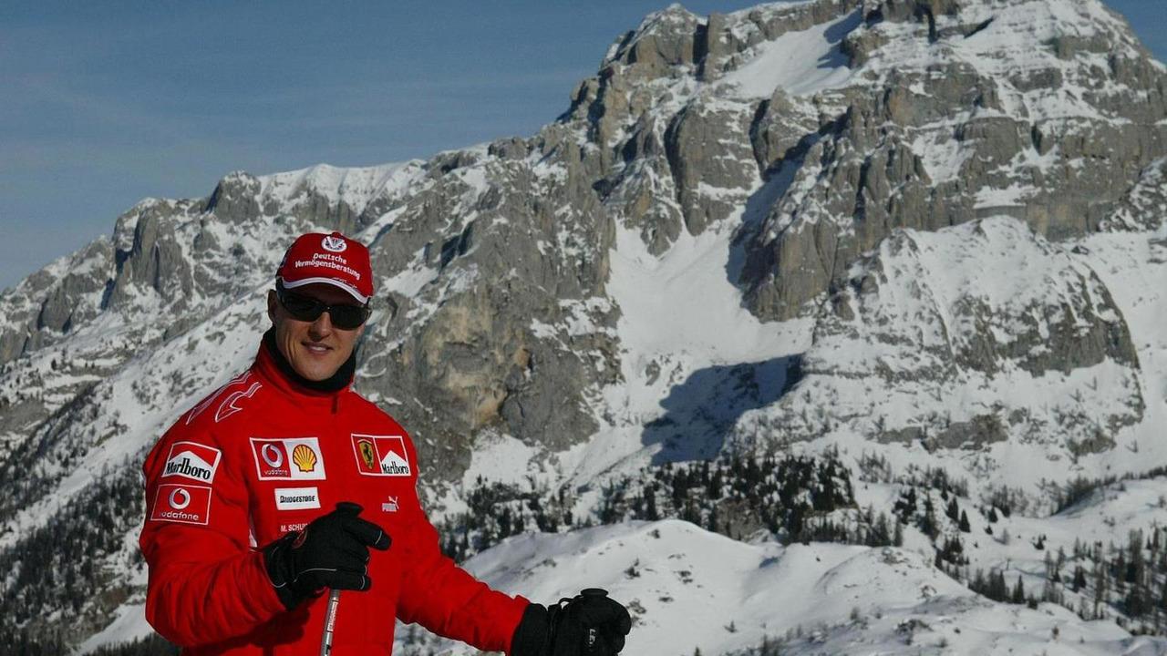 Michael Schumacher skiing at Wrooom annual Ski Press Meeting in Madonna di Campiglio Italy 12.01.2006