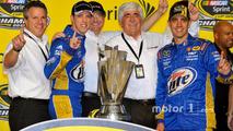Championship victory lane: 2012 NASCAR Sprint Cup Series champion Brad Keselowski, Penske Racing Dodge celebrates with PR Denny Darnell