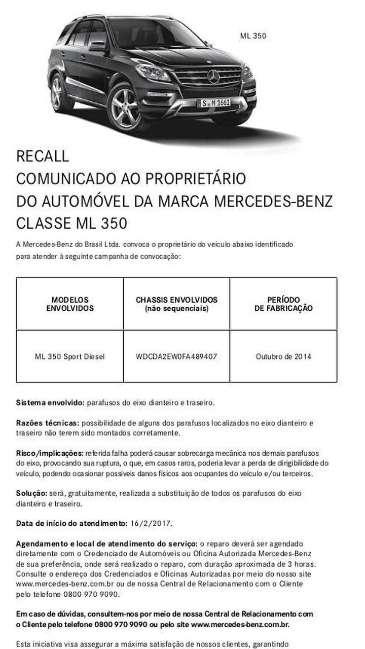 O curioso caso do recall do Mercedes-Benz ML 350