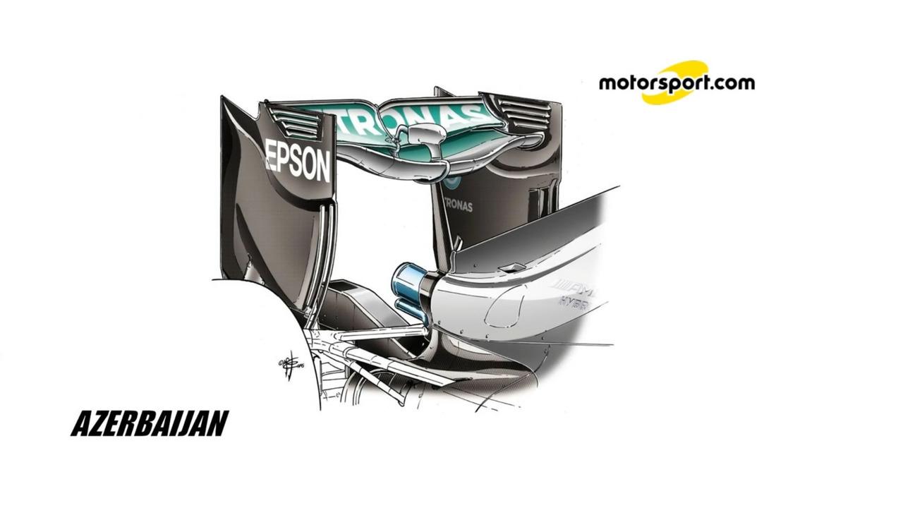 Mercedes W07 'Spoon' rear wing
