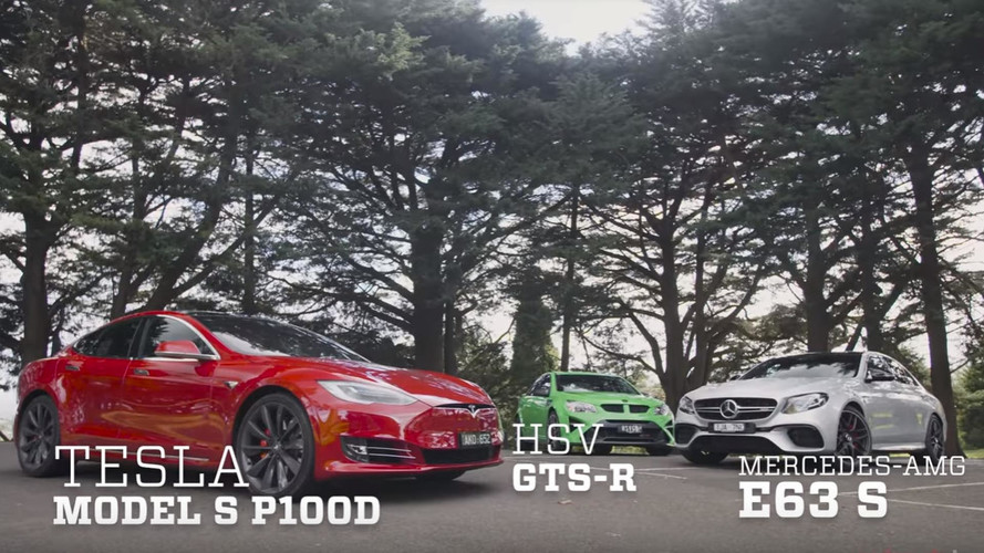 Tesla Model S P100D Goes Against Mercedes-AMG E63 S And HSV GTSR