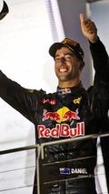 Daniel Ricciardo, Red Bull Racing celebrates his second position on the podium