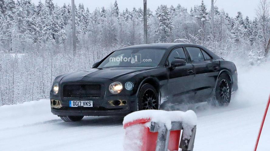 Next-generation Bentley Flying Spur spied in snowy Sweden