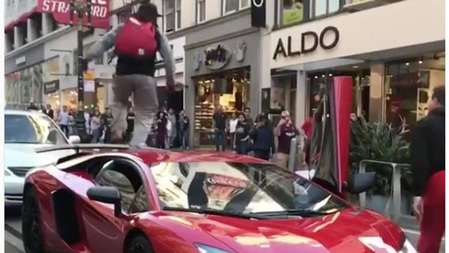 Jumping On An Aventador SV Makes Us Question This Guy's Sanity