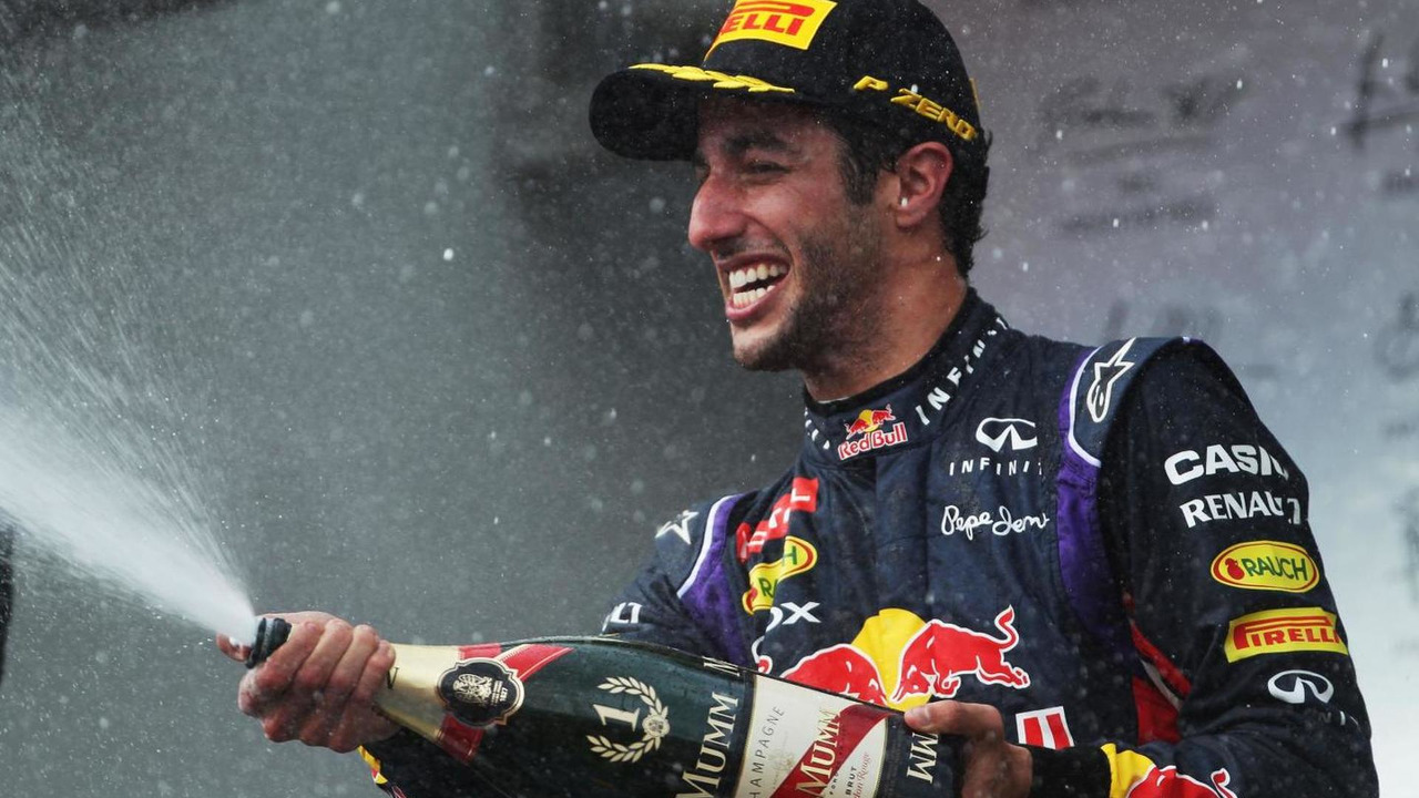 Race winner Daniel Ricciardo (AUS) celebrates on the podium, 27.07.2014, Hungarian Grand Prix, Budapest / XPB