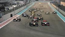 Start of the race, Sebastian Vettel (GER), Red Bull Racing - Formula 1 World Championship, Rd 19, Abu Dhabi Grand Prix, Sunday Race, 14.11.2010