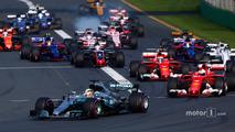 Start- Lewis Hamilton, Mercedes AMG F1 W08, leads Sebastian Vettel, Ferrari SF70H, Kimi Raikkonen, Ferrari SF70H, Felipe Massa, Williams FW40