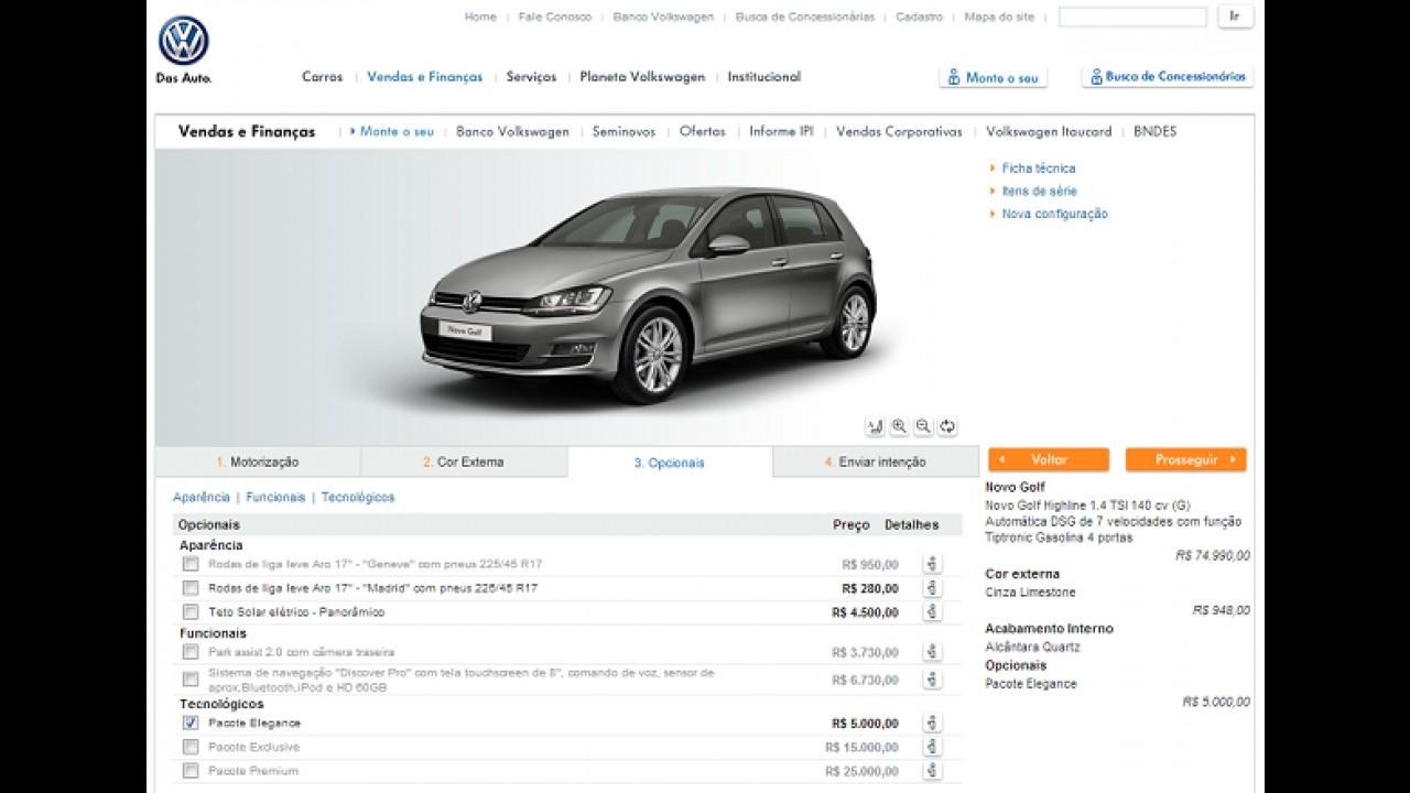Novo Golf já está disponível em configurador no site da VW