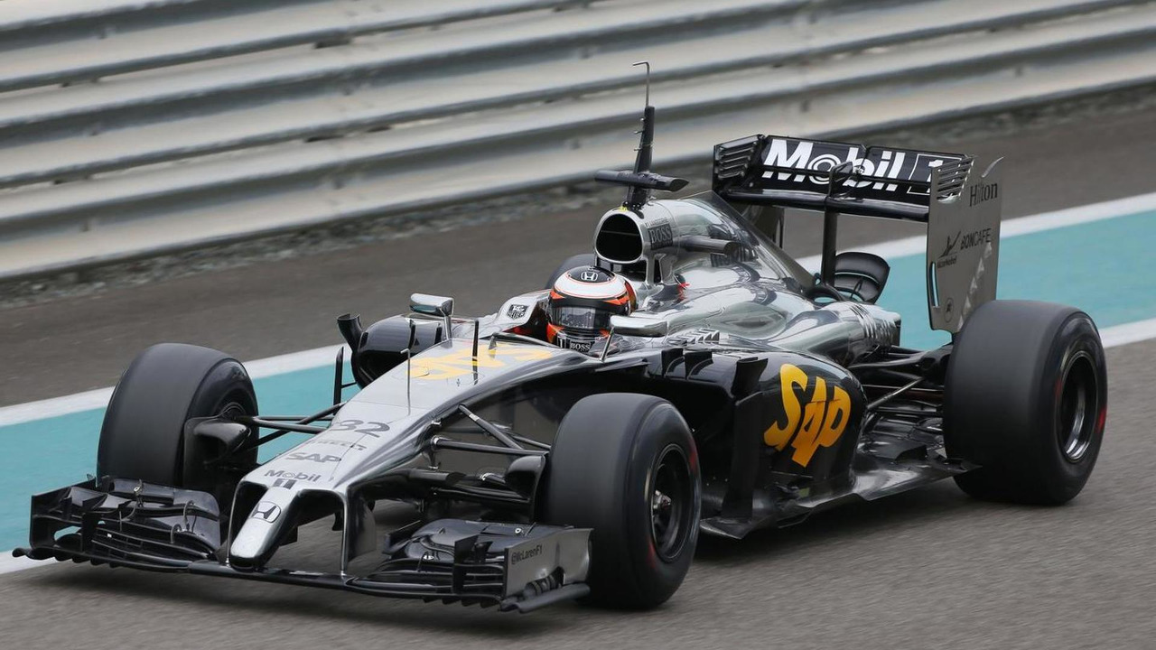 Stoffel Vandoorne (BEL) McLaren MP4-29H Test and Reserve Driver - Honda engine being used, 25.11.2014, Formula 1 Testing, Day One, Yas Marina Circuit, Abu Dhabi / XPB