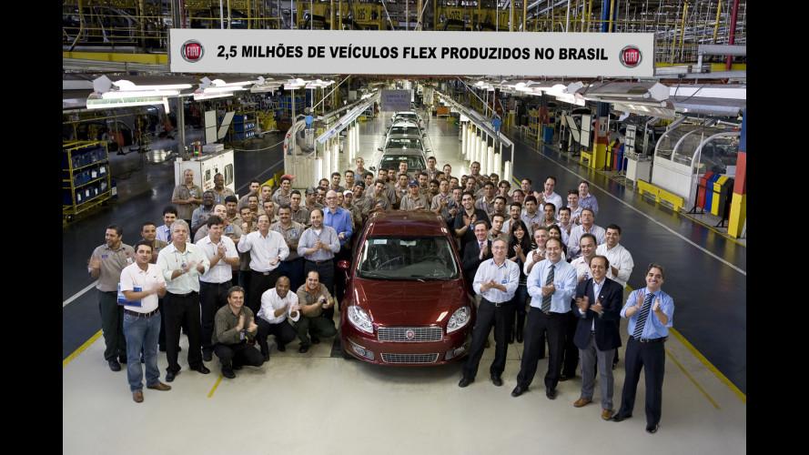 Fiat Brasile: prodotti 2,5 milioni di veicoli Flex