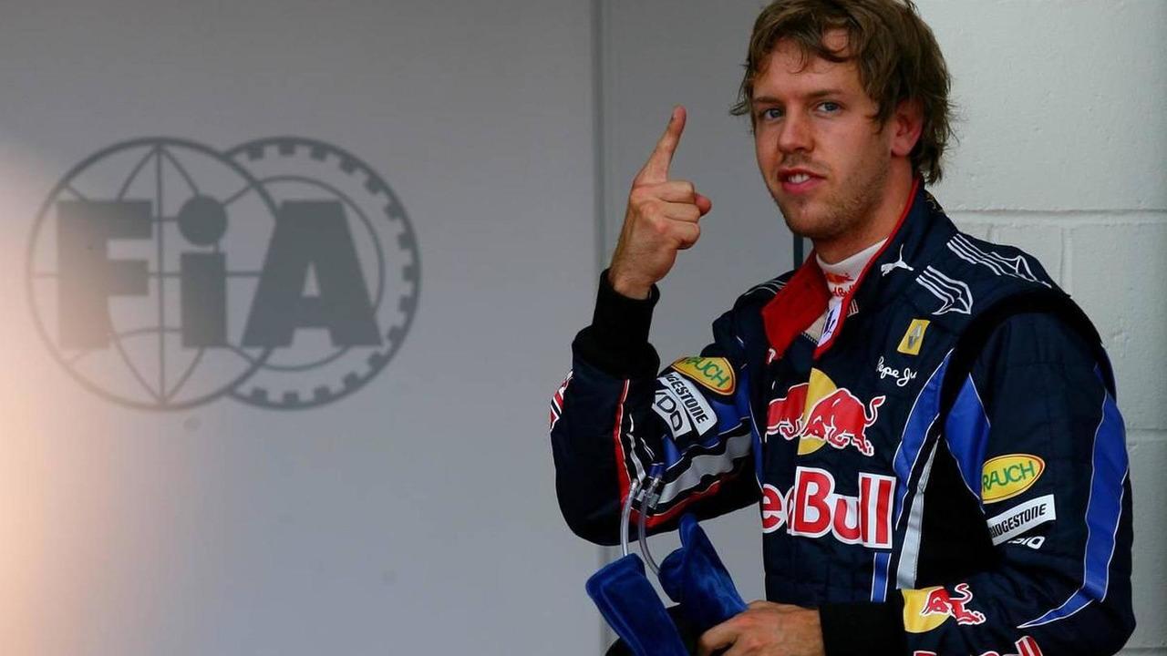 Sebastian Vettel (GER) secures pole position, Red Bull Racing, British Grand Prix, Saturday Qualifying, 10.07.2010 Silverstone, England