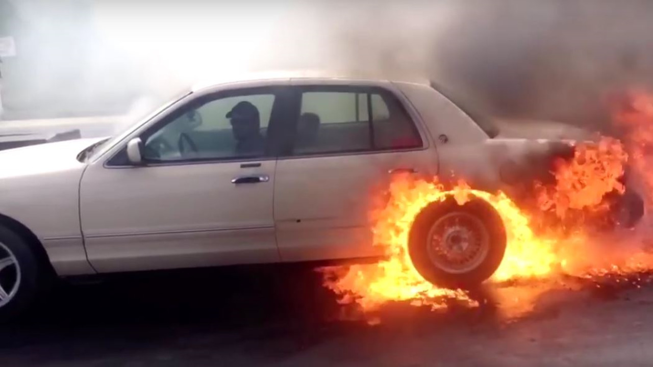 Mercury Grand Marquis catches fire during burnout
