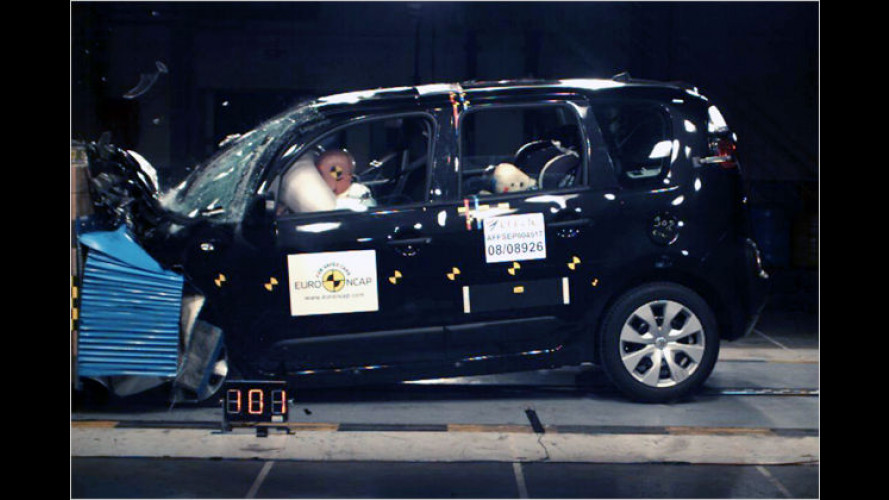 Crashtest: C3 Picasso und Subaru Impreza mit Schwächen