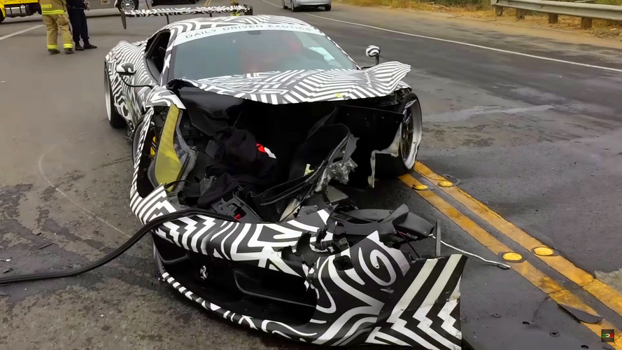 Tuned Ferrari 458 crashes during Monterey Car Week
