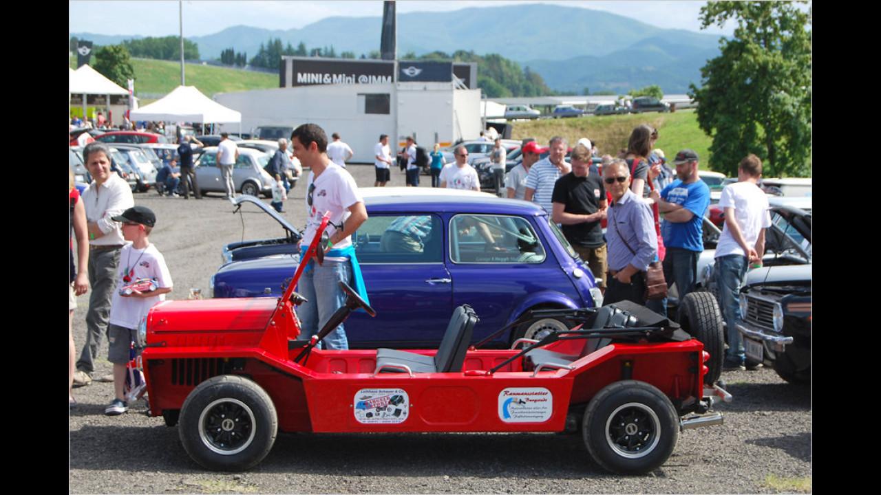 Der Mini Moke basiert auf dem Classic Mini und war besonders in Portugal und Australien als Strandflitzer sehr beliebt.