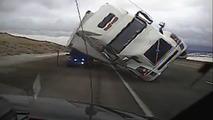 Semi Truck Blown Over Video