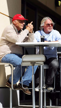 (L to R): Niki Lauda, Mercedes Non-Executive Chairman with Keke Rosberg