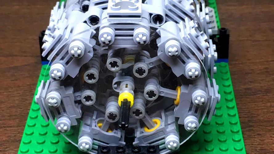 This Functional Lego 28 Cylinder Radial Engine Will Hypnotize You