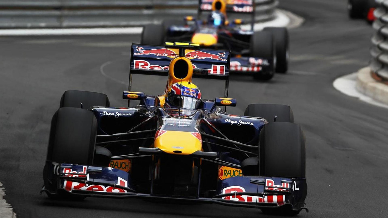 Mark Webber of Australia and Red Bull Racing leads from team mate Sebastian Vettel of Germany and Red Bull Racing on his way to winning the Monaco Formula One Grand Prix at the Monte Carlo Circuit on May 16, 2010 in Monte Carlo, Monaco