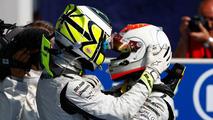 Jenson Button congratulates Rubens Barrichello, Italian Grand Prix, Monza, Italy, 13.09.2009