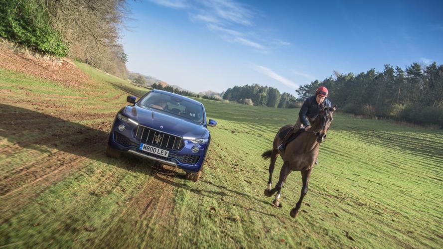 Maserati Levante 2017 frente a un caballo de carreras inglés