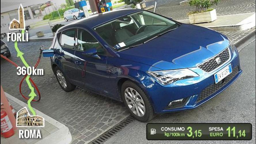 Seat Leon 1.4 TGI, la prova dei consumi
