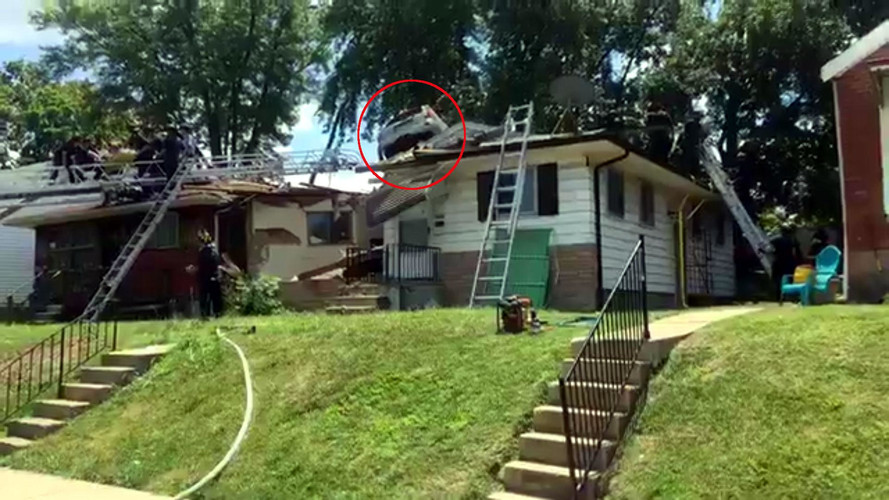 SUV Launches Onto Roof Of Home That Was Just Paid Off