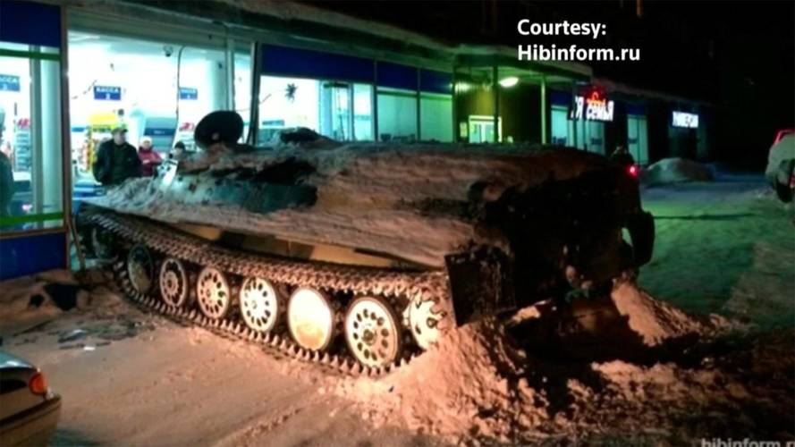 Drunk Russian Crashes Stolen APC Into Store, Steals Bottle Of Wine