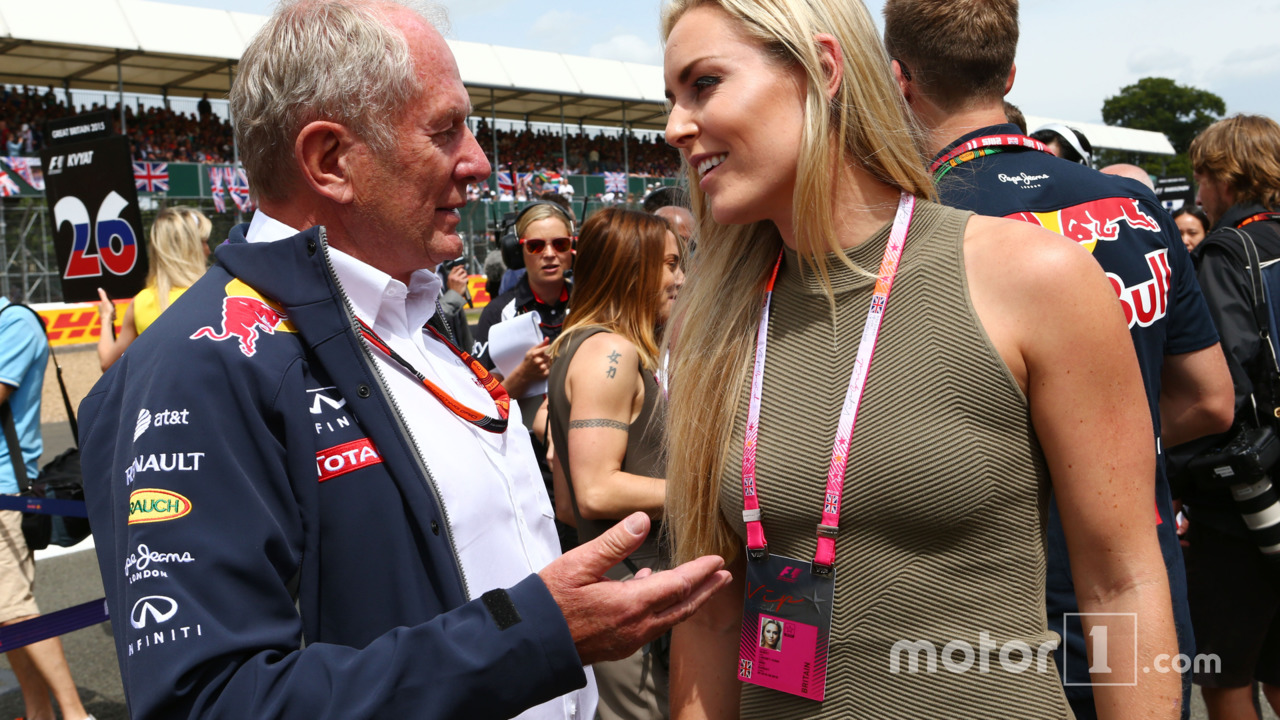 Dr Helmut Marko with Lindsey Vonn, Alpine Ski Racer on the grid