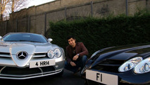 Afzal Kahn poses with F1 and 4 HRH number plates