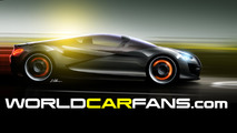 WorldCarFans logo and rendering