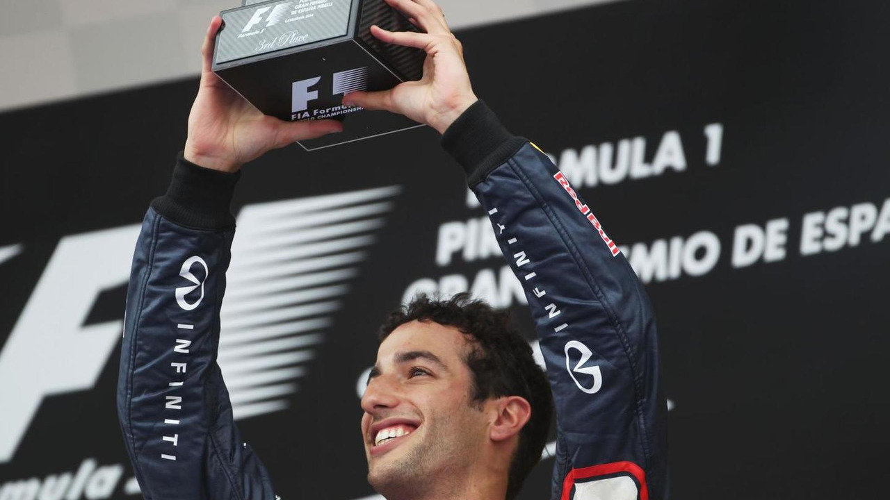 Daniel Ricciardo (AUS) celebrates his third position on the podium, 11.05.2014, Spanish Grand Prix, Barcelona / XPB