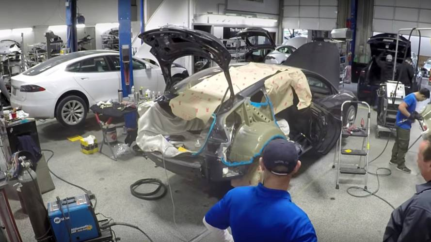 Watch Time-Lapse Tesla Model 3 Body Repair