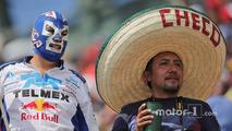 A masked fan and a Sergio Perez, Sahara Force India F1 fan