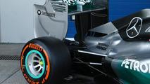Mercedes AMG F1 W05 rear wing detail  Formula One Testing Jerez Spain