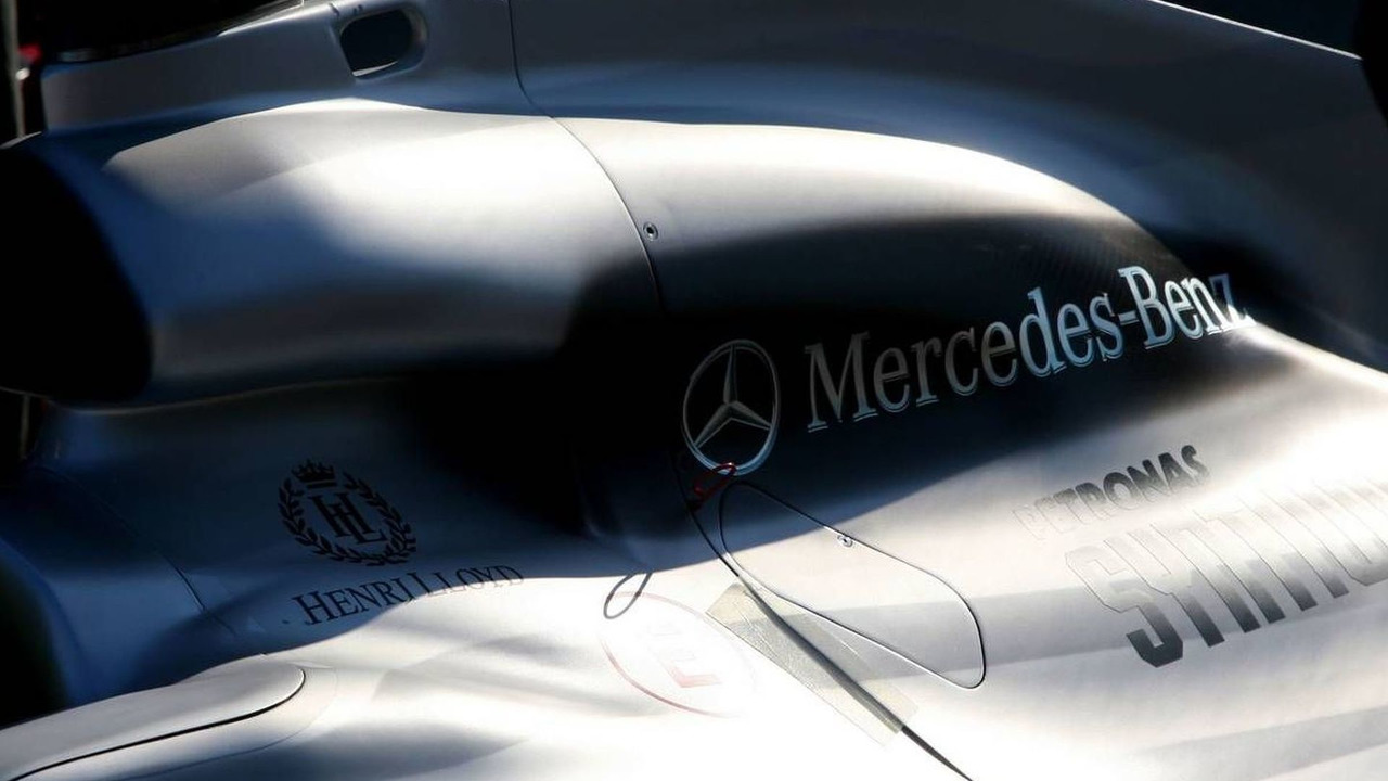 Mercedes GP engine cover detail - Formula 1 Testing, 02.02.2010 Valencia, Spain